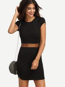 Black Cap Sleeve Mesh Insert Bodycon Dress