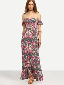 Multicolor Floral Off The Shoulder Split Maxi Dress
