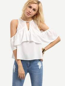 White Cold Shoulder Ruffle Cutout Blouse