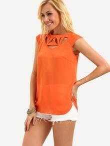 Orange Cap Sleeve Cutout Blouse
