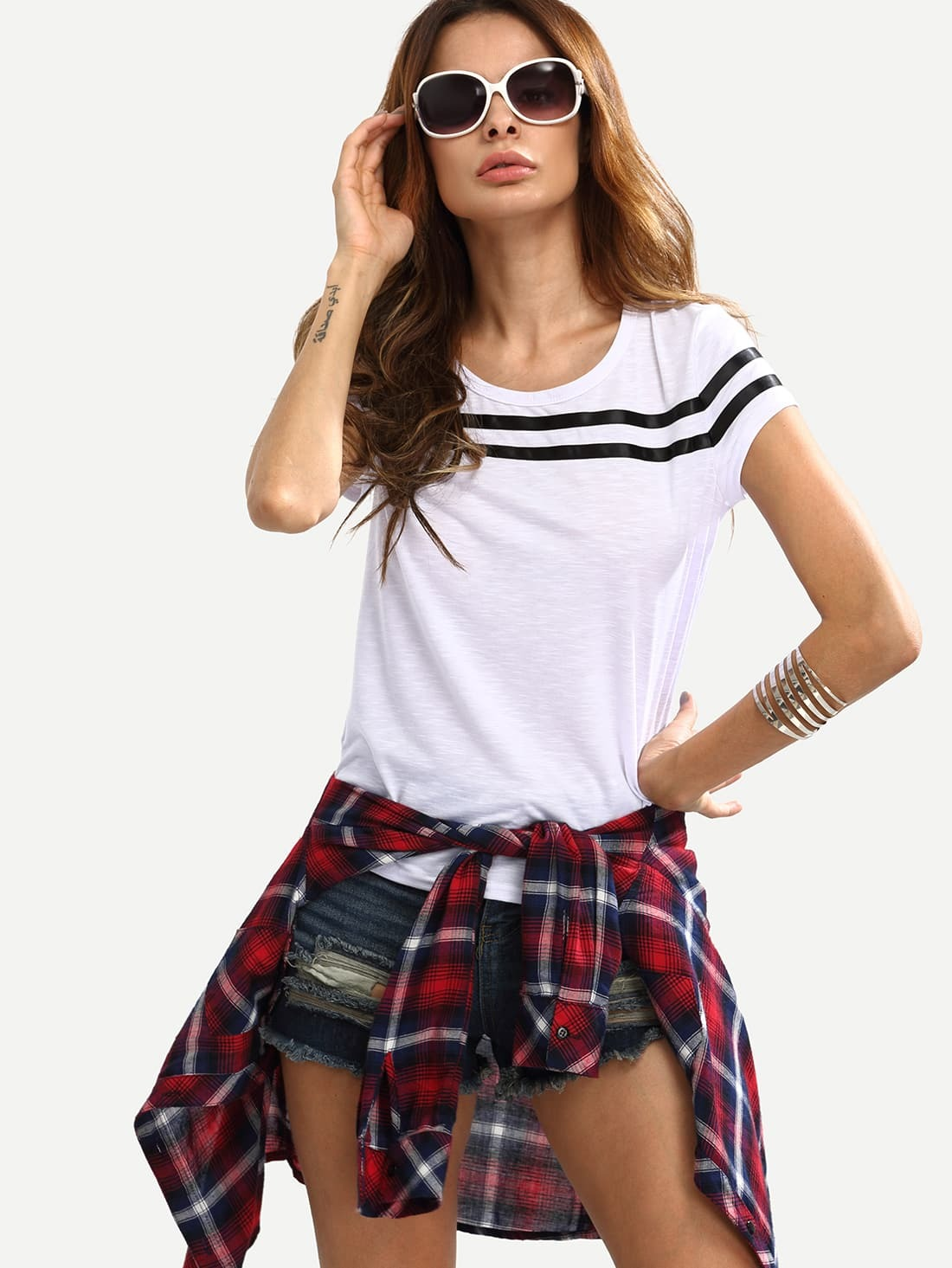 White Cap Sleeve Striped T-shirtWhite Cap Sleeve Striped T-shirt<br><br>color: White<br>size: L,M