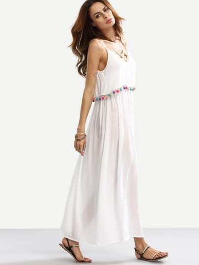Pom-pom Decorated Loose Full Length Dress