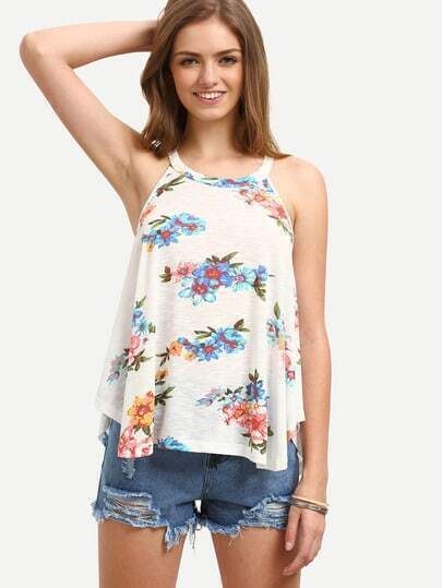 Multicolor Floral Round Neck Tank Top