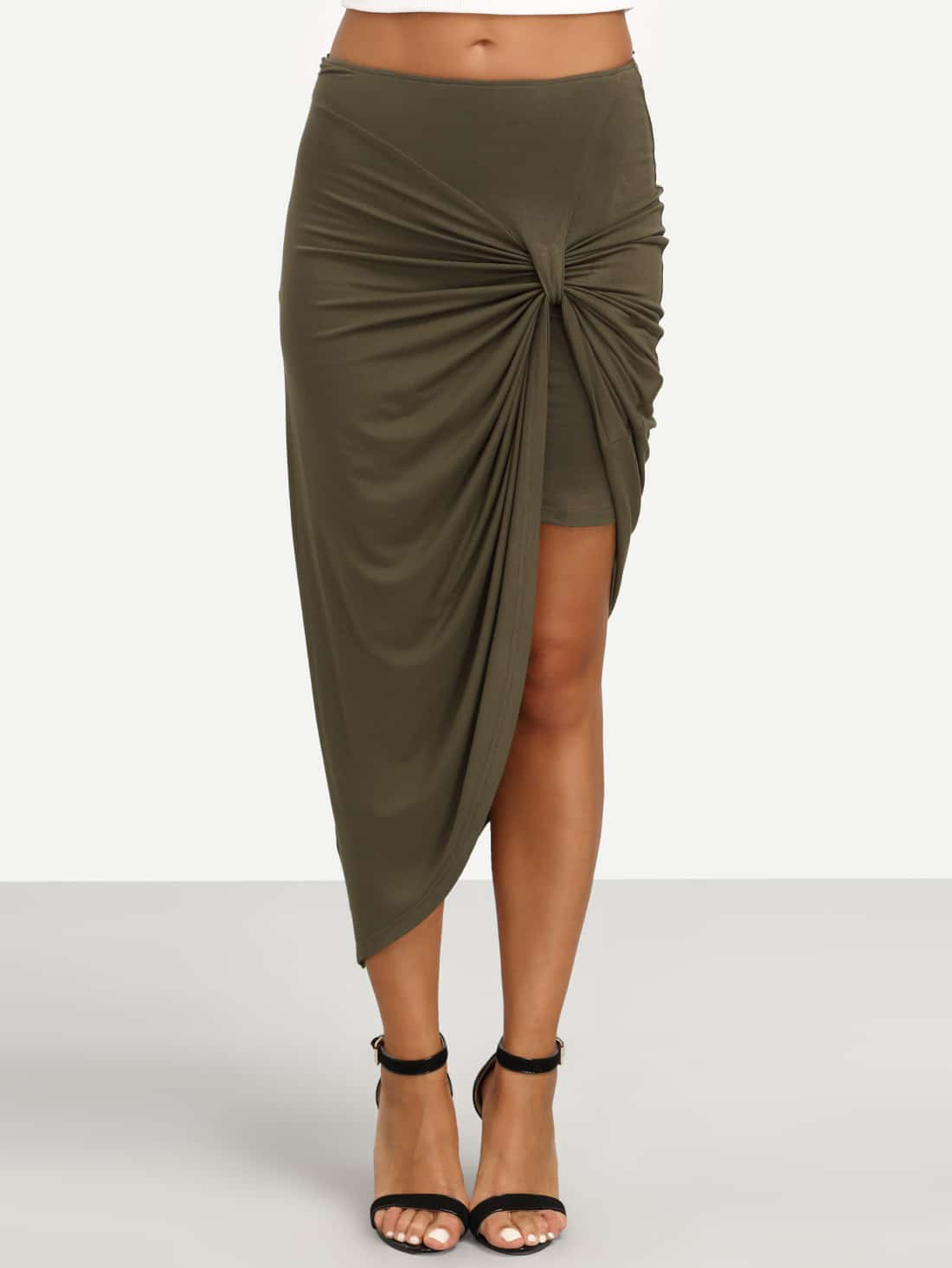 Asymmetrical Twist Ruched Skirt solid ruched knit skirt