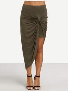 Asymmetrical Twist Ruched Skirt