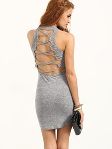 Grey Crisscross Back Sleeveless Bodycon Dress