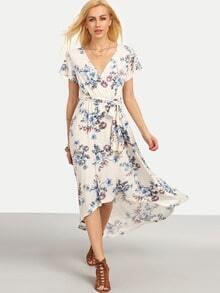 Multicolor Floral Tie V Neck High Low Dress
