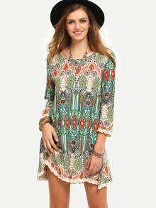 Multicolor Print Vintage Three Quarter Sleeve Dress