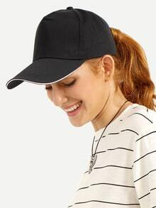 Black Casual Cotton Baseball Hat