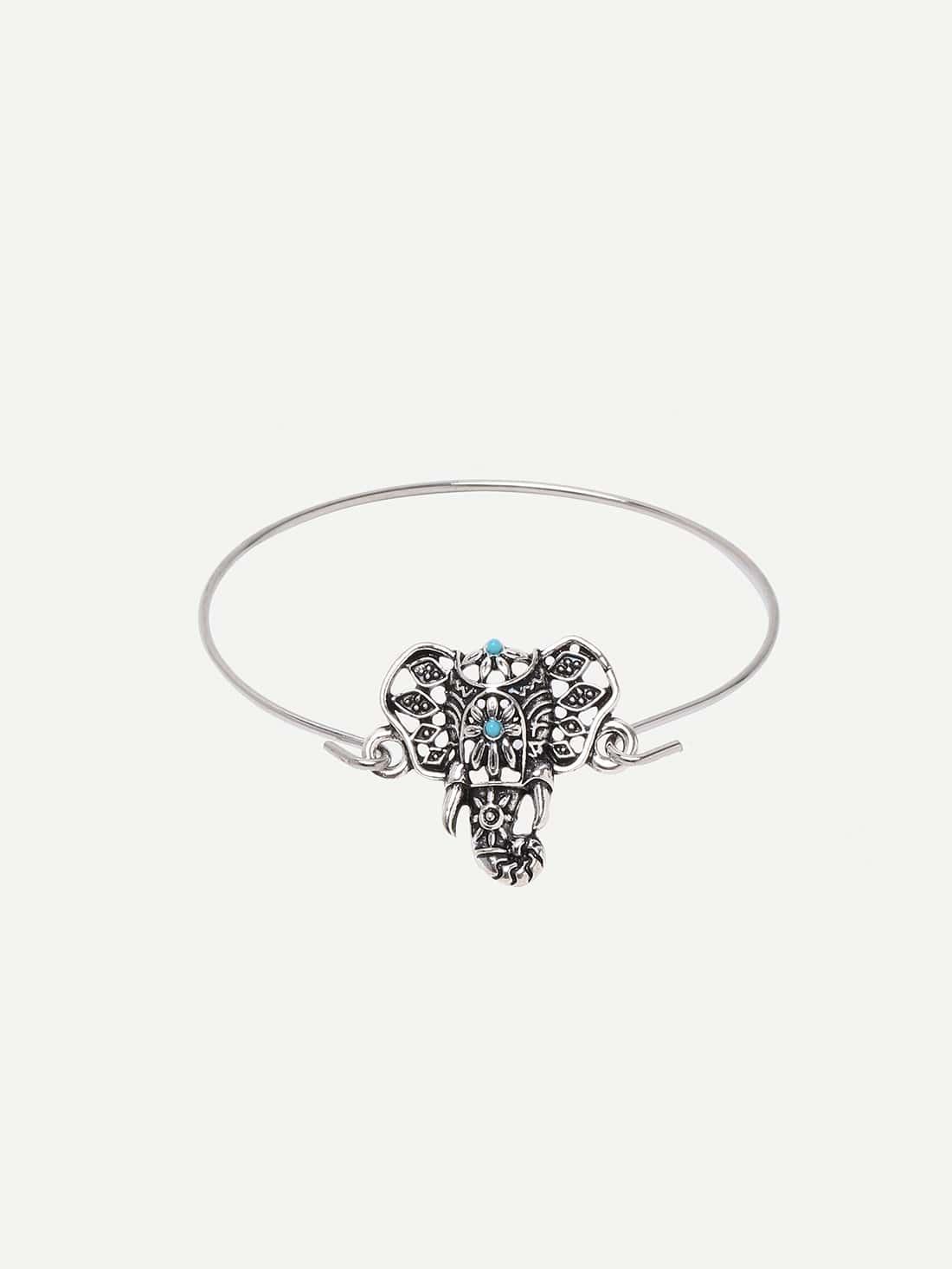 Фото Antique Silver Hollow Elephant Feature Bracelet. Купить с доставкой