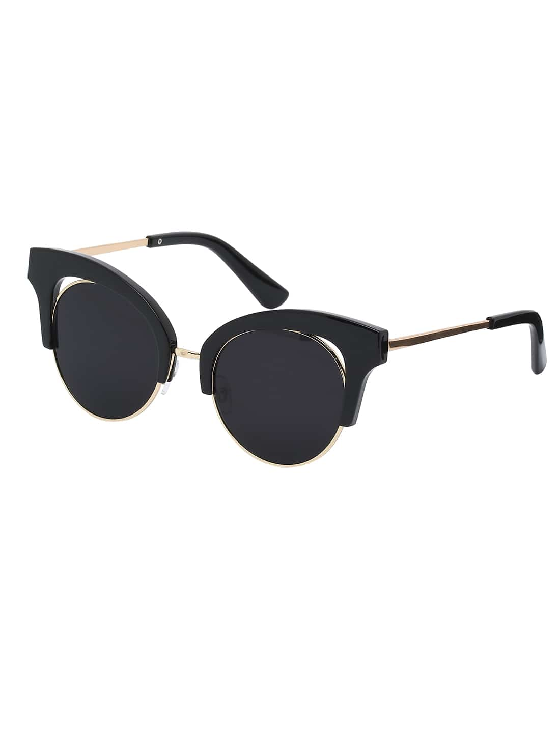 Black Frame Black Cat Eye Lenses Sunglasses -SheIn(Sheinside)