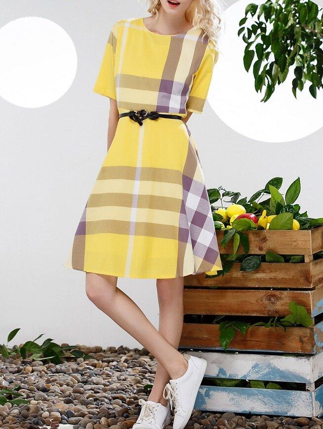 robe plaid manche courte avec ceinture jaune french shein sheinside. Black Bedroom Furniture Sets. Home Design Ideas
