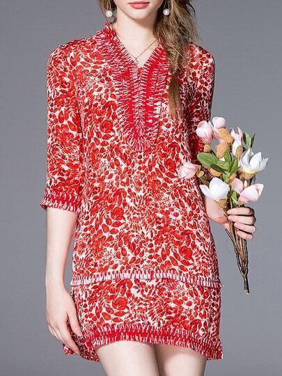 Red V Neck Floral Shift Dress