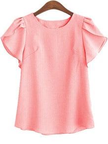 Pink Ruffle Sleeve Cute Shirt