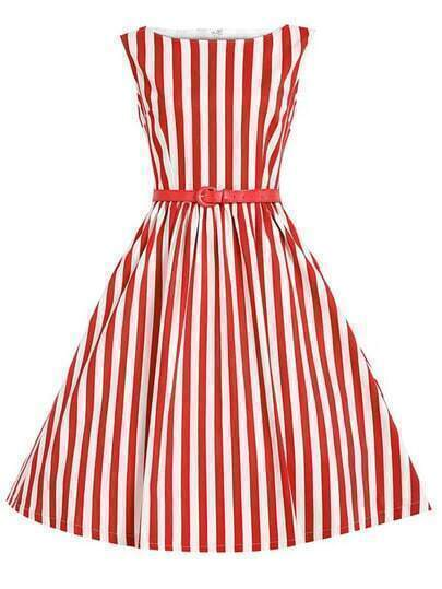Red Vertical Striped Flare Dress With Belt