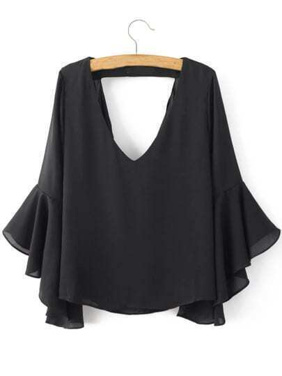 Black Low Neck Bell Sleeve Hollow Blouse