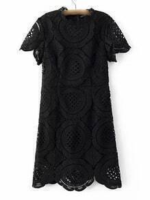 Black Band Collor Lace Zipper Dress