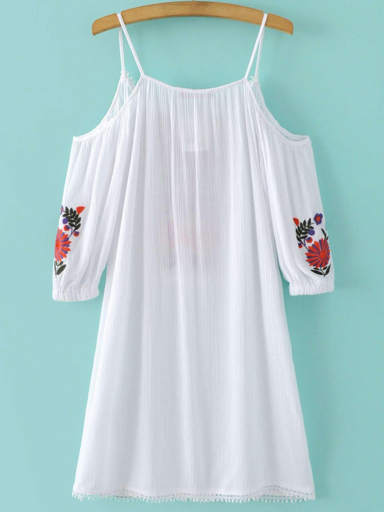 White Embroidery Cold Shoulder Tassel Dress Shein Sheinside