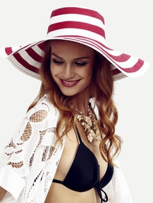 Red Striped Large Brimmed Straw Hat