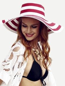 قبعة قش مخططة كبيرة حمراء
