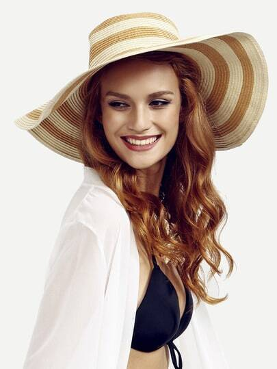 Khaki Striped Large Brimmed Straw Hat