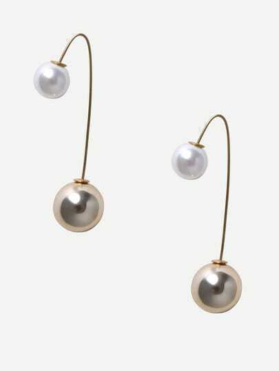 Golden Pearl Curved Earrings