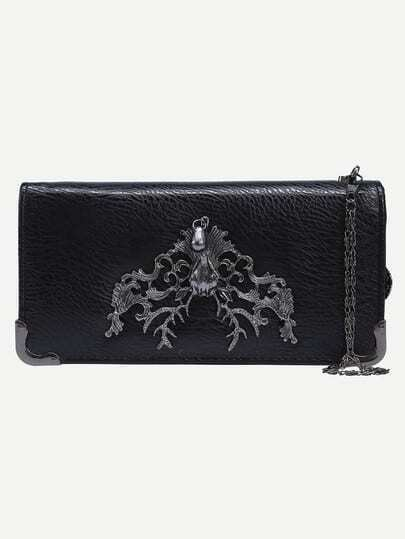 Metal Deer Head Accent Faux Leather Wallet - Black