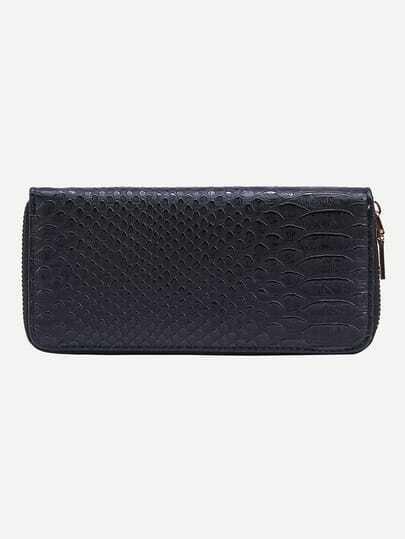 Crocodile Embossed Zip Closure Wallet - Black