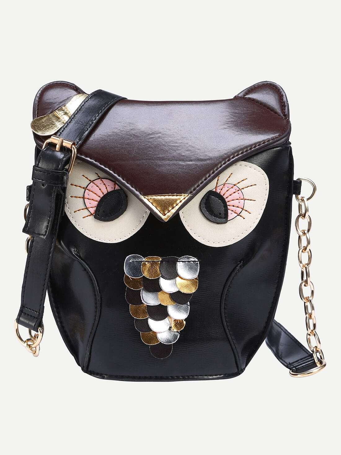 Faux Leather Owl Shoulder Bag - BlackFaux Leather Owl Shoulder Bag - Black<br><br>color: Black<br>size: None