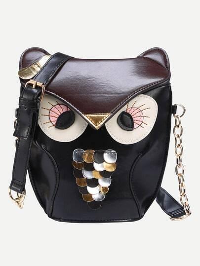 Faux Leather Owl Shoulder Bag - Black