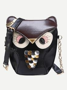 Faux Leather Owl Shoulder Bag - Black