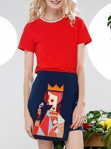 Red Crew Neck Top With Poker Embroidered Skirt