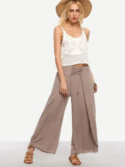 Lace-Up Wide Leg Wrap Pants - Khaki