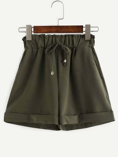 Drawstring Waist Roll Hem Shorts - Olive Green