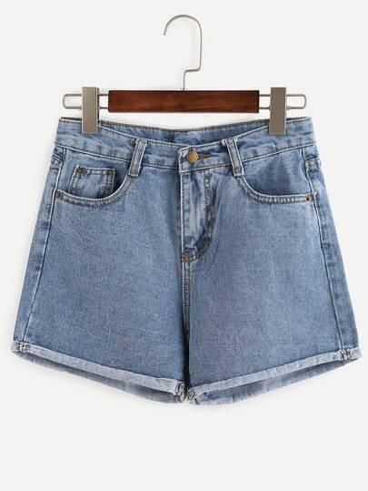 Roll Hem Blue Denim Shorts