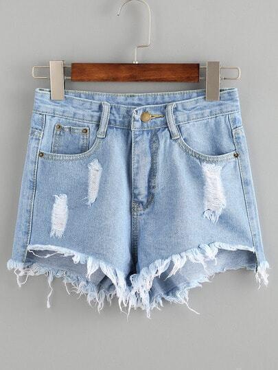 Distressed Raw Hem Blue Denim Shorts