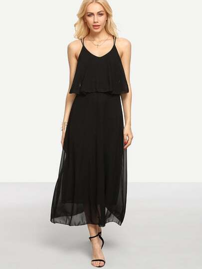 Crisscross Layered Chiffon Cami Dress - Black