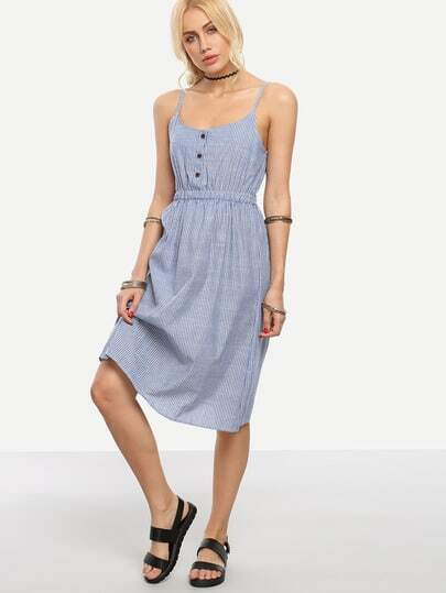 Buttoned Front Vertical Striped Cami Dress - Blue