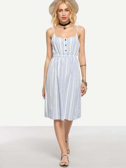Buttoned Front Vertical Striped Cami Dress - Light Blue