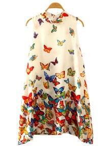 Multicolor Butterfly Print Swing Dress