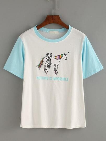 Contrast Sleeve Unicorn Print T-shirt - White