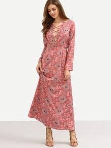 Lace-Up V-Neck Vintage Pattern Print Dress - Red