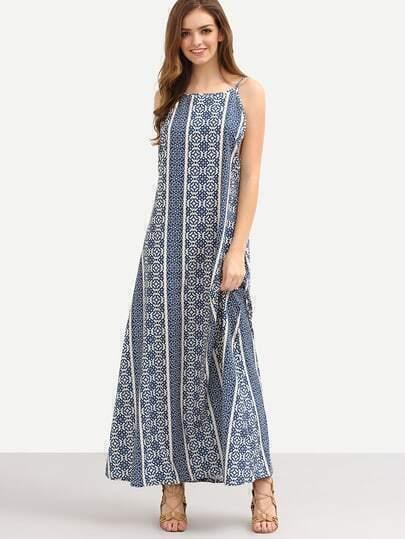 Geometric Print Drop Armhole Cami Dress - Blue