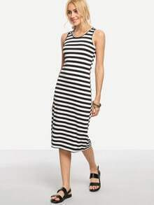 Black White Striped Racerback Tank Dress
