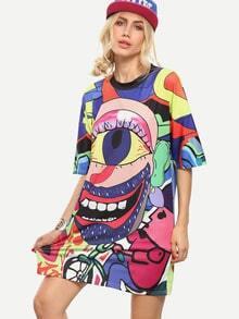 Multicolor Graffiti Print Oversized Tee Dress