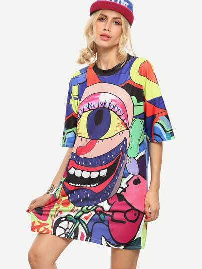 Multicolor Graffiti Print Oversized Tee Dress