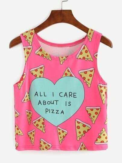 Pizza Print Crop Tank Top - Hot Pink