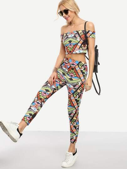 Multicolor Graffiti Print Off-The-Shoulder Top With Pants