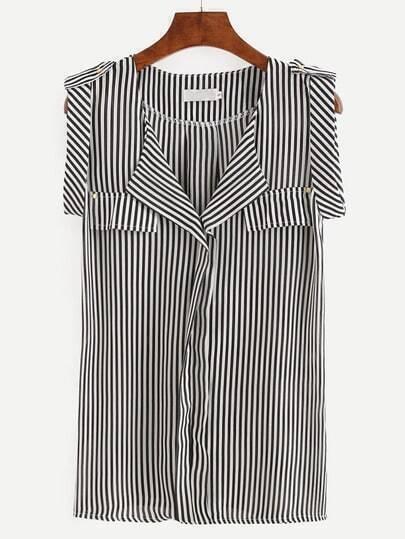 Black White Vertical Striped Sleeveless Blouse