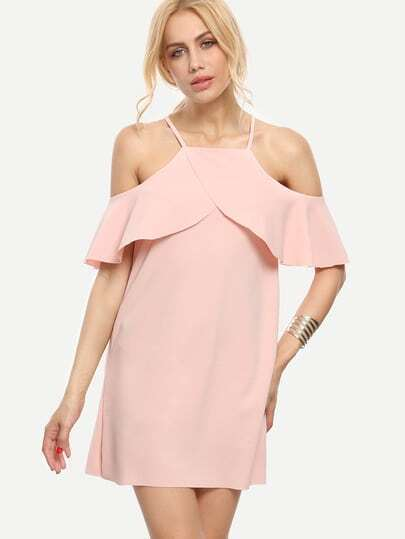Pink Cold Shoulder Ruffle Sleeve Dress
